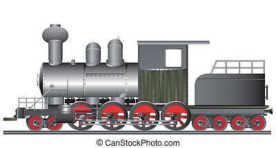 Old style steam engine locomotive on tracks