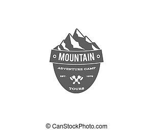 Old style mountain trekking, climbing hiking camping badge,...
