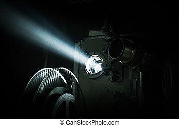 Retro movie projector icon, cartoon style  Retro movie