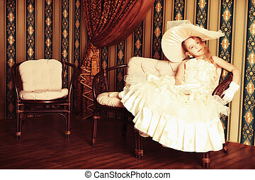 old style - Portrait of a charming little lady in a ...