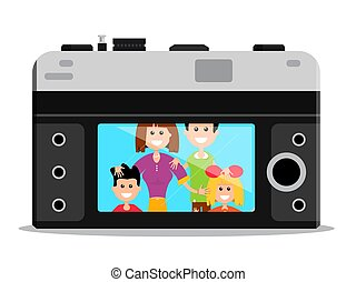 Old Style Retro Camera Back with Happy Famil Portrait. Vector Flat Design Cartoon.