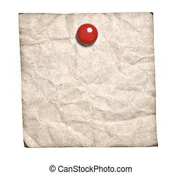 old-style, retro, nota, com, vermelho, clip
