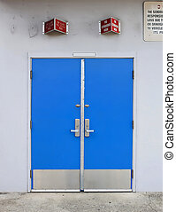 old style school door - blue isolated on a white background