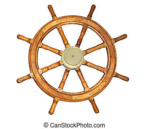 Old Style Ship Wheel - Old style ship wheel isolated on...
