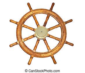 Old Style Ship Wheel - Old style ship wheel isolated on...