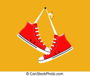 old style sport sneakers shoes hanging, vector illustration