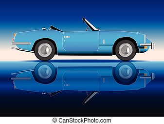 Old Style Sports Car - A classic old style sports car in...