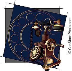 old-style, telefon, tło