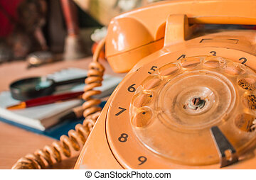 old-style, telefone rotativo, numbers.