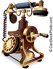 Old-style telephone - vectorial image of old-style telephone...