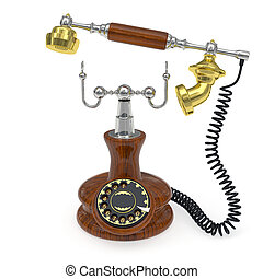 Old style telephone with lifted up receiver