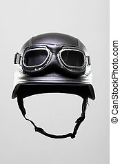 motorcycle helmet with goggles - old-style us army...