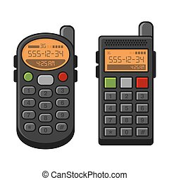 Old Style Vintage Mobile Phone Set. Telephone with Buttons. Vector