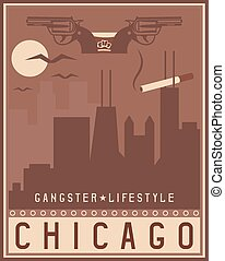 old style vintage retro poster with Chicago Illinois USA skyline