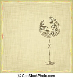 Old style vintage wine card