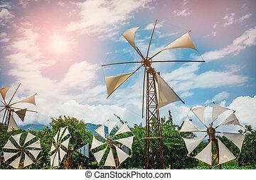 Old-style windmills on Lasithi Plateau. Crete, Greece
