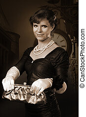 Old style woman picture with purse - Old style woman holding...