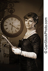 Old style woman with paper - Old style woman with clock in...