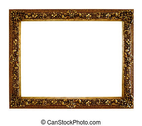 Old style wooden craft photo frame isolated with clipping path.