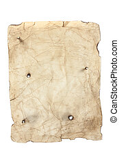 old style yellow paper with bullet holes