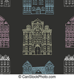 Old Styled Houses Seamless Pattern