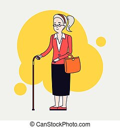 Old stylish woman with cane. Senior lady with glasses walking. Vector linear flat design