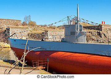 Old submarine. Suomenlinna island, Finland