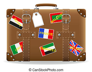 old suitcase for travel and label vector illustration ...