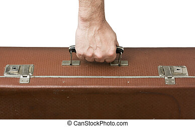 old suitcase in hand