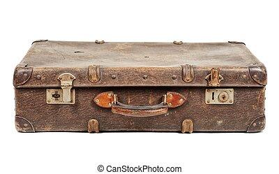 Old suitcase isolated on white background