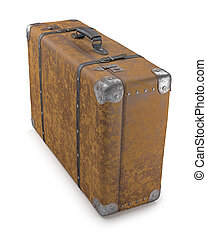 Old Suitcase Over White - Old suitcase with wear on the...