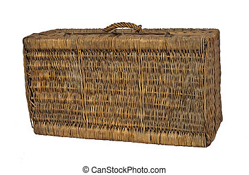 Old suitcase wicker, isolated on white background