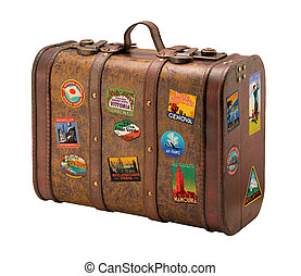 Old Suitcase with Royaly Free Travel Stickers - Old Suitcase...