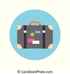 Old Suitcase With Stickers Icon Travel Baggage Concept