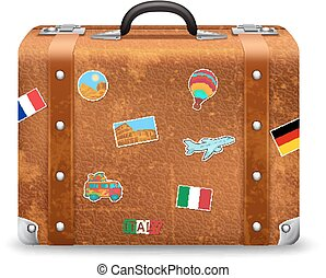 Old Suitcase With Travel Stickers - Old style voyage...