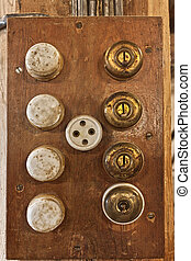 Old switches on a wooden box