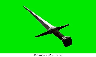 old sword on green chromakey background