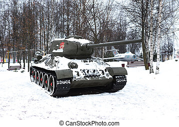 Old t-34 tank in the snow