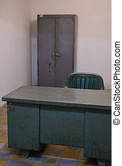 Old table and closet in war bunker