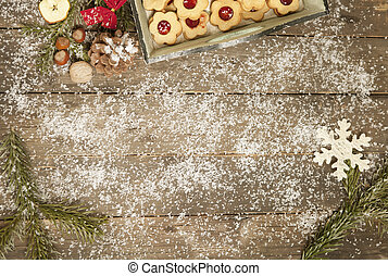 old table decorated wintry - old wooden table decorated with...