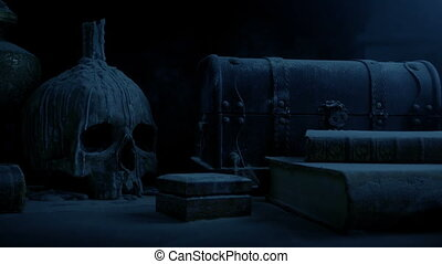 Old Table With Skull In Dark Castle