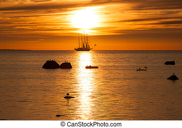 Old tall sail ship silhouette in sunset in sea