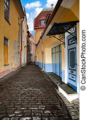 old Tallin street - narrow cosy street in center of old...