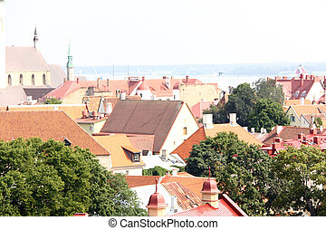 Old Tallinn panorama with Baltic sea