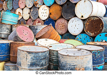 old empty barrels containing hazardous chemicals