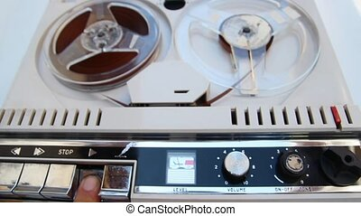 old tape recorder - vintage tape recorder playing an...