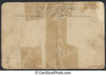 Old taped Postcard back - Old taped up postcard back