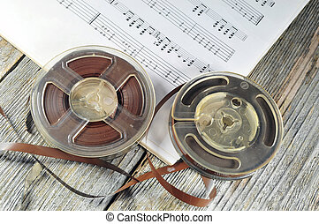 Old tapes with music notes