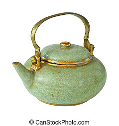 Old teapot isolated on the white background