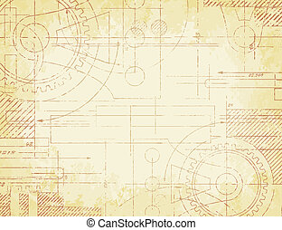 Old Technical Drawing - Grungy old technical blueprint...